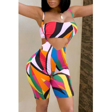 Lovely Euramerican Geometric Printed  Multicolor Knitting Two-piece Shorts Set