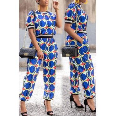 Lovely Euramerican Printed Patchwork Blue Qmilch Two-piece Pants Set