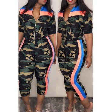 Lovely Euramerican Patchwork Camouflage Printed Two-piece Pants Set (Include Coat)