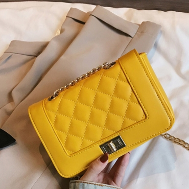 Lovely Fashion Chain Design Yellow Patent Leather Crossbody