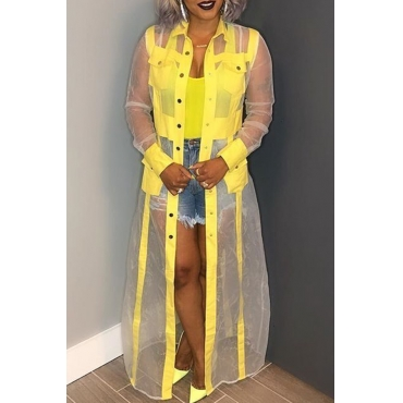 Lovely Casual See-through Patchwork Yellow Coat
