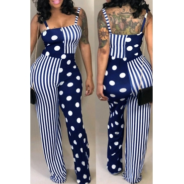 Lovely Casual Dots Printed Striped Dark Blue  One-piece Jumpsuit