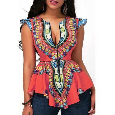 Lovely National Style Totem Printed Orange Rayon Blouse