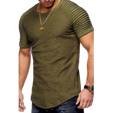 Lovely Euramerican Drape Design Army Green T-shirt