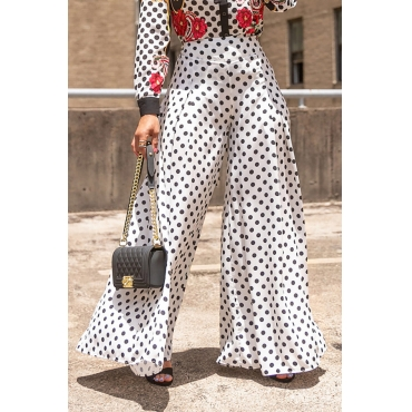 Lovely  Casual Dots Printed Loose White Pants