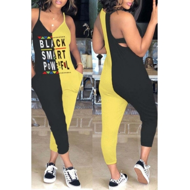 Lovely Casual Patchwork Letters Printed Yellow One-piece Jumpsuit
