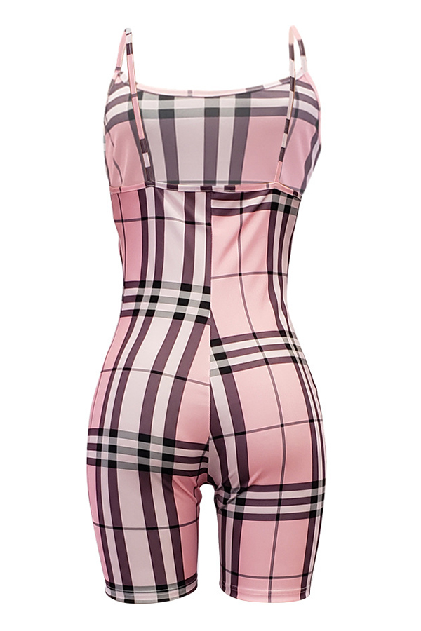 Lovely Casual Grids Printed Skinny Pink Blending One-piece Romper