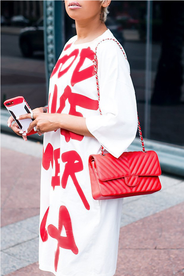 Lovely Casual Letters Printed White  Knee Length Dresses
