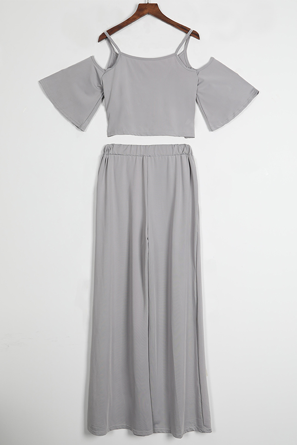 Lovely Casual Dew Shoulder  Loose Grey Two-piece Pants Set