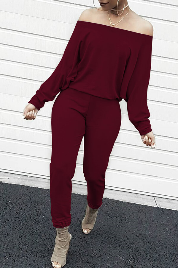 Lovely Casual Dew Shoulder Blending Wine Red One-piece Jumpsuit