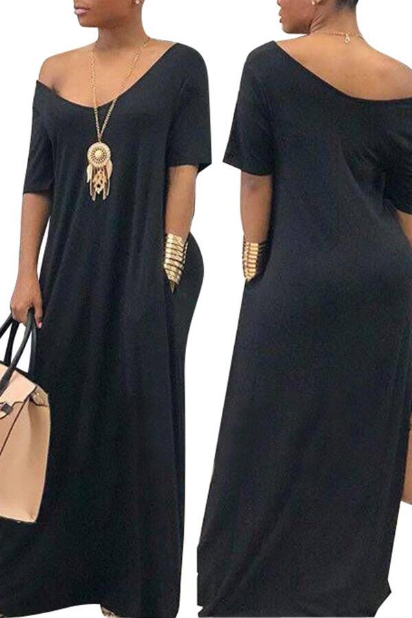 Lovely Casual Pockets Design Black Blending Floor Length Dress