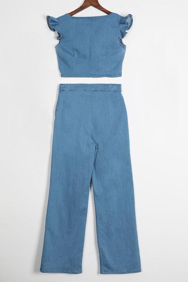 Lovely Euramerican Flounces Design Baby Blue Two-piece Pants Set