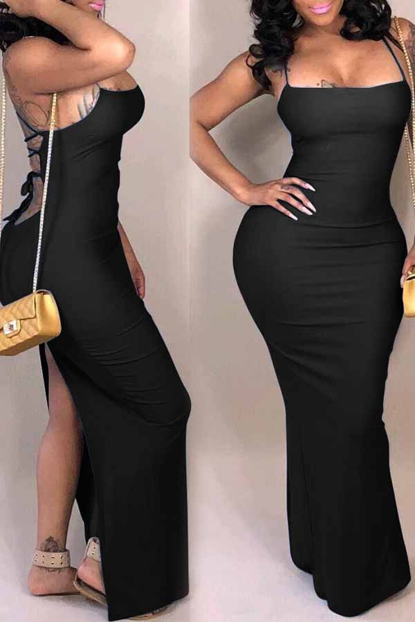 Lovely Casual Backless Black Qmilch Ankle Length Dress