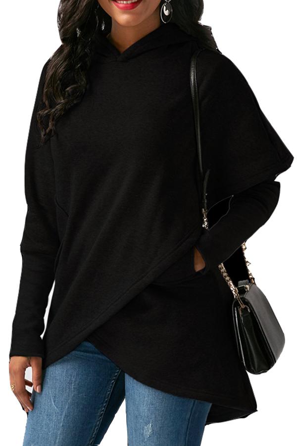 Lovely  Casual Asymmetrical Black Long Hoodies