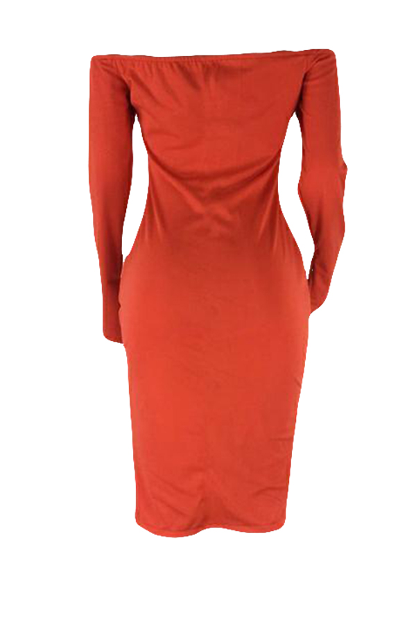 Lovely Euramerican  Dew Shoulder Party Orange Cotton Blends Knee Length Dress