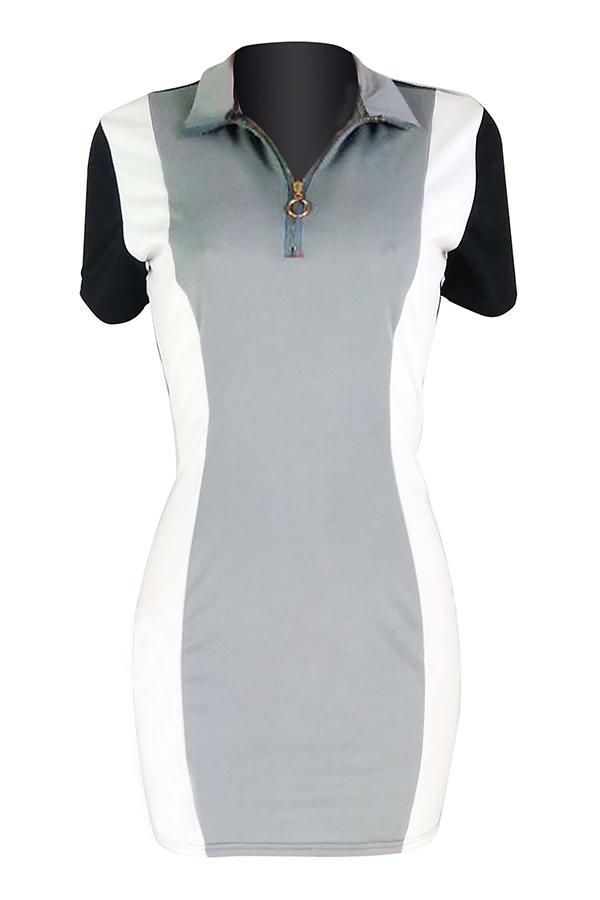Lovely Casual Patchwork Sheath Grey Twilled Satin Mini Dress