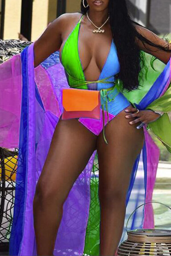 Lovely Casual Patchwork Skinny Purple One-piece Swimwear(Include Coat and Belt ,Without Bag)