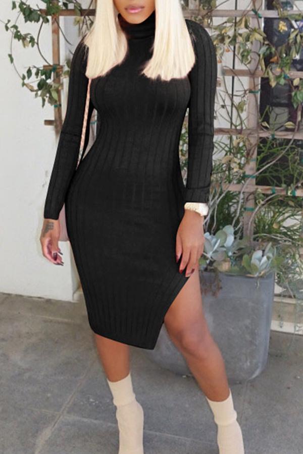Lovely Casual Turtleneck Long Sleeve Sheath Black Cotton Knee Length