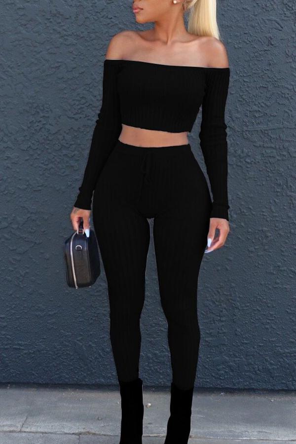 Lovely Euramerican Dew Shoulder Black Cotton Two-piece Pants Set