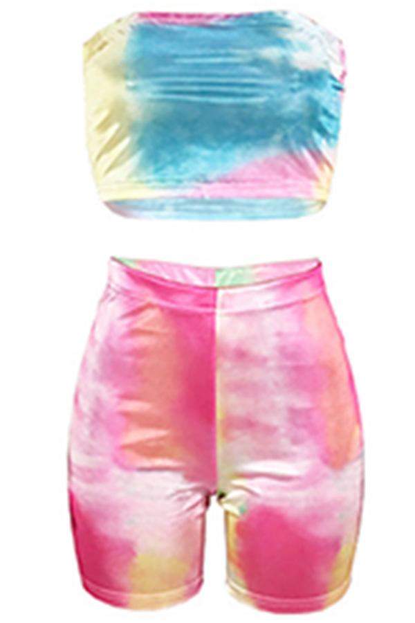 Lovely Euramerican Dew Shoulder Multicolor Blending Two-piece Shorts Set