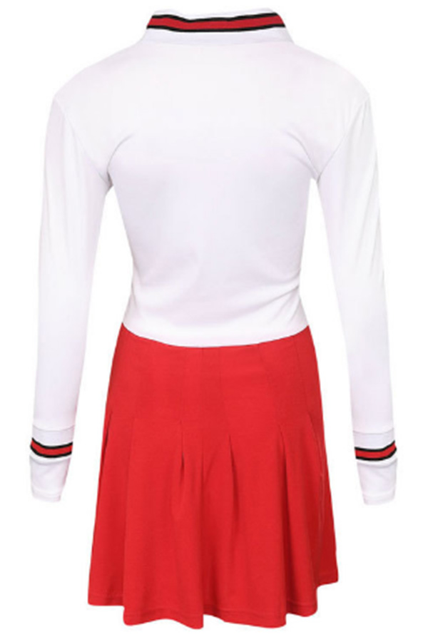 Lovely Casual  College Patchwork Red Mini Dress