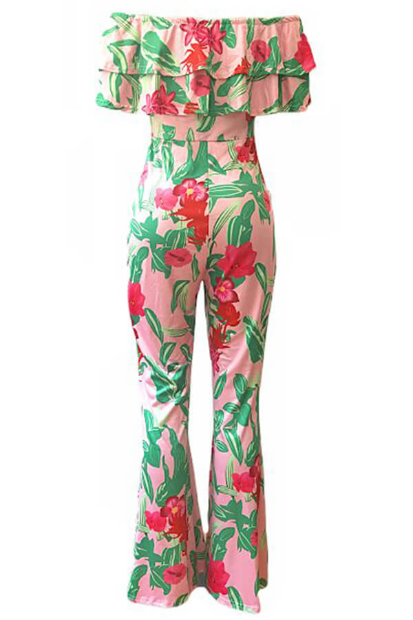 Lovely Fashion Floral Printed  Dew Shoulder Green One-piece Jumpsuit