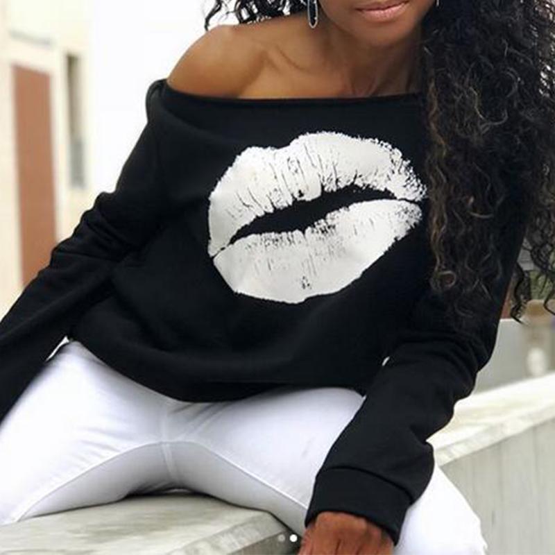 Lovely Leisure Dew Shoulder Lip Printing White Blending Pullovers