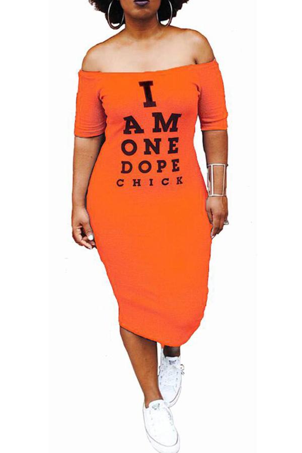 Lovely Euramerican Letters Printed Orange Twilled Satin Mid Calf Dress