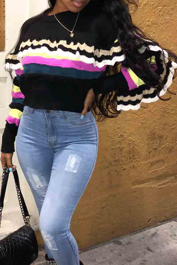 Lovely Sweet Color Striped Flounce Black Knitting Sweaters