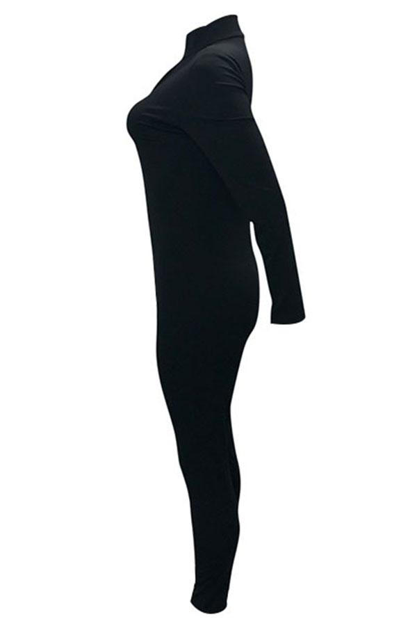 Lindo Na Moda V Neck Zipper Design Preto Macacão De Uma Peça
