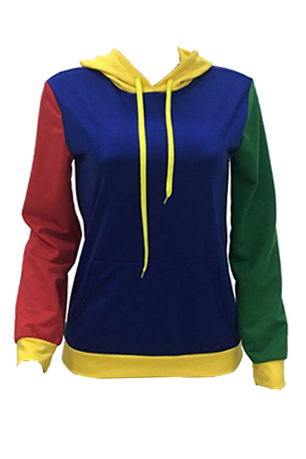 Lovely Stylish Patchwork Blue Hoodie