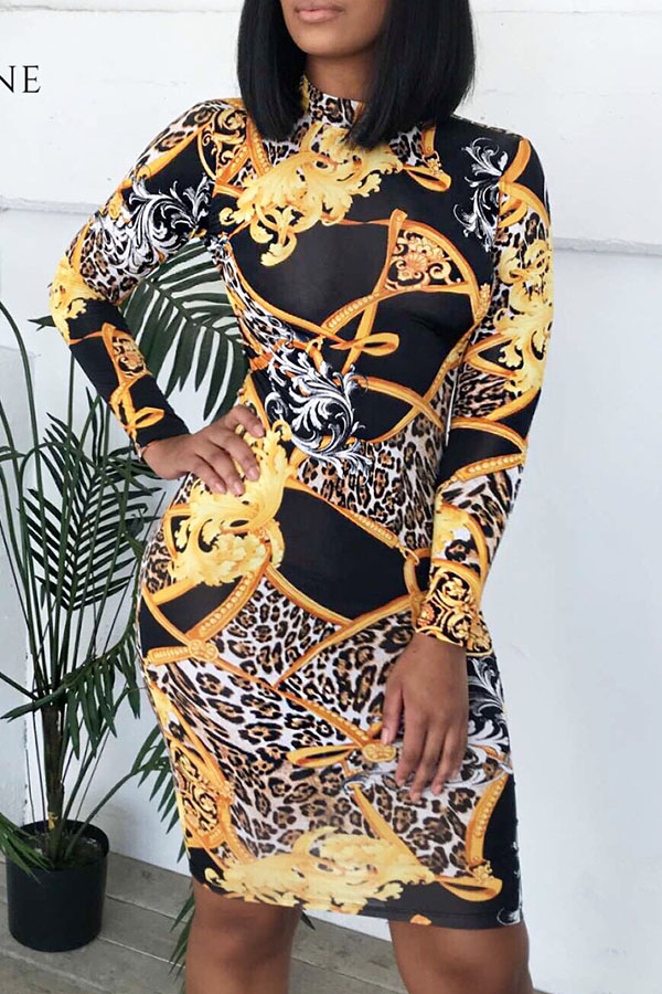 Lovely African Floral Printed Multicolor Twilled Satin Knee Length Dress