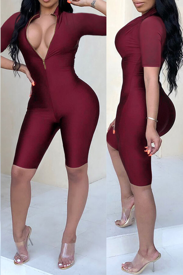 Lovely Casual  Zippers Design Skinny  Wine Red One-piece Rompers