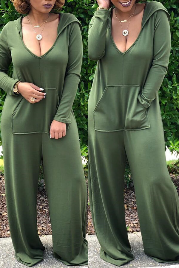 Lovely Casual Hooded Collar Loose Green One-piece Jumpsuit