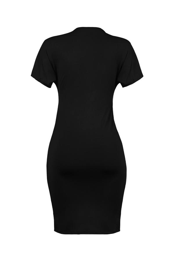 Lovely  Casual  Cross-over Design Asymmetrical Black Knee Length Dress