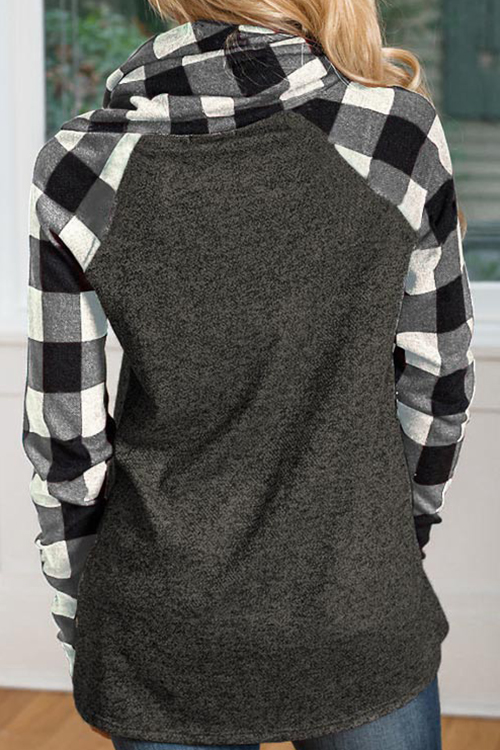 Lovely Fashion Heaps Collar Patchwork Grey Cotton Blends Hoodies