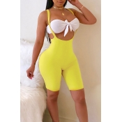 Lovely Casual Sleeveless Yellow Two-piece Shorts S