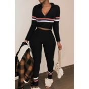 Lovely Casual Patchwork Black Omilch Two-piece Pants Set
