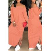 Lovely Casual Dew Shoulder Slit Hem Light Pink Ankle Length Dress
