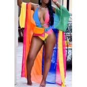 Lovely Casual Patchwork Skinny Multicolor One-piece Swimwear(Include Coat and Belt  Without Bag)