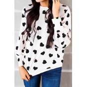 Lovely Round Neck Heart-shaped Printed Black T-shirt