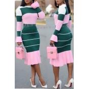 Precioso Conjunto De Falda De Dos Piezas De Mezcla De Color Rosa Con Patchwork Informal