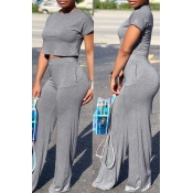 Lovely Casual Loose Deep Grey Two-piece Pants Set