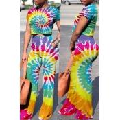 Reizendes Beiläufiges Farbenblock Gedrucktes Mehrfarbiges Zweiteiliges Hosenset