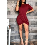 Lovely Casual Asymmetrical Red Mini Dress