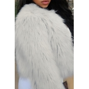 Lovely  Fashion Single Breasted Grey Faux Fur Leat