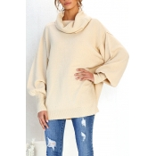 Lovely Casual Puff Sleeves Apricot Knitting Sweate