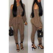 Lovely Casual Dew Shoulder Printed Coffee Twilled Satin Two-piece Pants Set