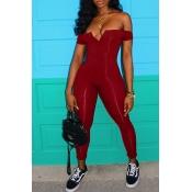 Lovely Euramerican Dew Shoulder Skinny Wine Red One-piece Jumpsuit