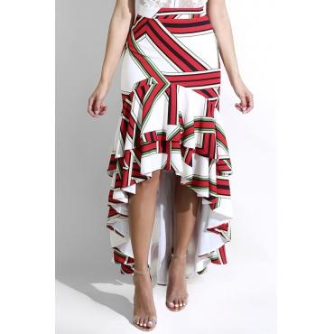Lovely  Euramerican Irregular Hems Printed Red Ankle Length Skirts (Positioning Printing)